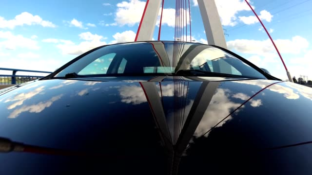 Driving Under Modern Cable-Stayed Bridge Front View video