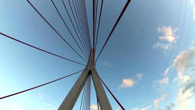 Driving Under Modern Cable-Stayed Bridge POV video