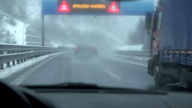 Driving under warning traffic lights video