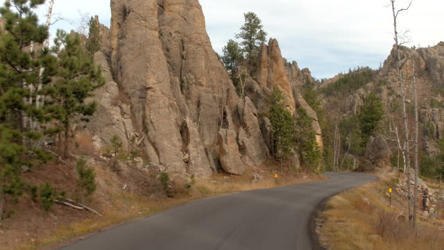 FPV: Driving up the hill along the Needles Highway in Black Hills, South Dakota video