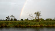 driving with a boat along the Havel river. Raining with rainbow (Brandenburg, Germany). Havelland. video