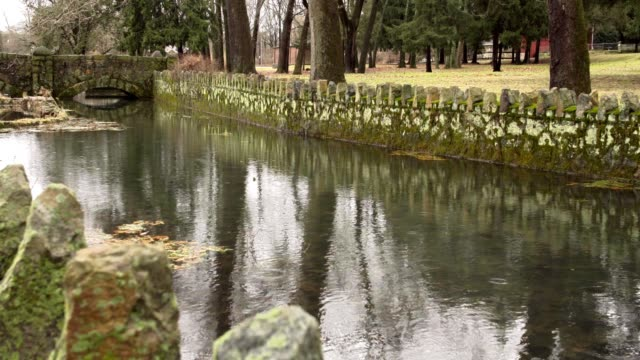 Drizzling in old stone moat video