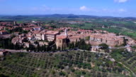 Drone Aerial Footage of Pienza, Tuscany Italy video