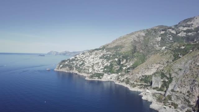Drone aerial view of Amalfi coast and Sorrento peninsula video