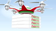 Drone carrying pizza for fast food delivery concept video