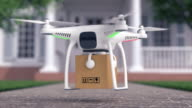 Drone delivers a parcel in fron of the house video