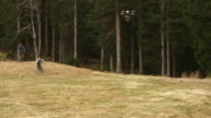 SLO MO Drone filming bikers riding through forest video