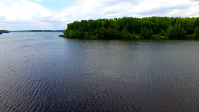Drone flight over the big lake water video