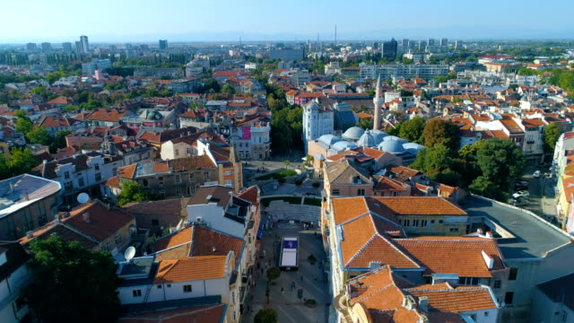 Drone flying above downtown main street district of the city of Plovdiv in Bulgaria video