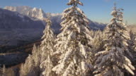 Drone Flying by Mountain Lookout View of Snow Covered Ridgeline video
