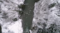 Drone Flying in Winter Storm Following Forest River Overhead with Snow Flakes Falling video