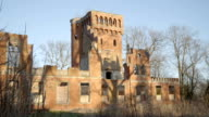 Drone Flying Over the Majestic Old Abandoned Ruin Mansion Palace video