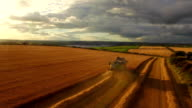 Drone footage of golden fields and combine harvester video