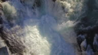 Drone Low Over Icy Fresh River Water in Winter Season with Strong Current video