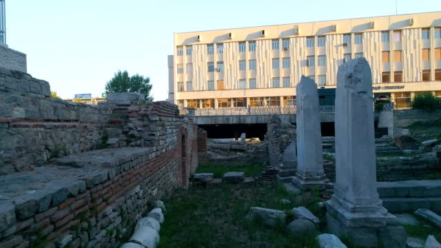 Drone low shot flying between old ancient roman columns in Plovdiv, Bulgaria video