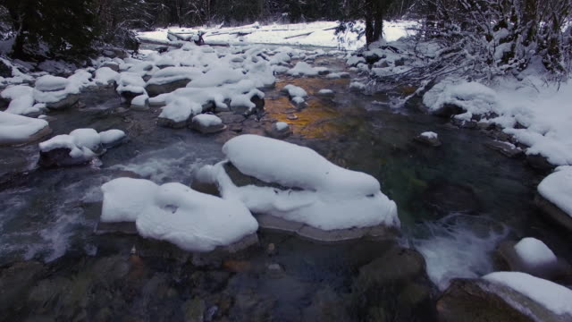 Drone Shot Floating Over Stream with Winter Snow Covered Rocks and Golden Sunlight Reflection video