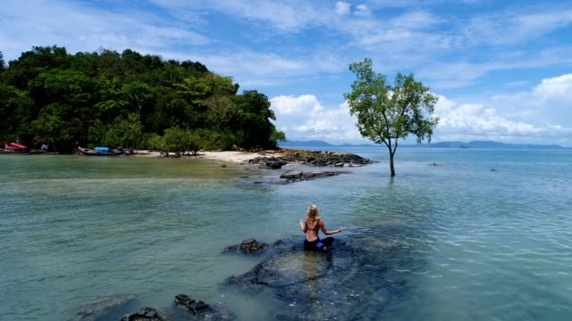 Drone shot of a young woman practicing yoga moves in tropical settings video