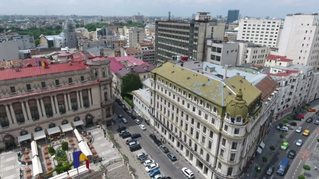 4K Drone Shot Of Bucharest Center And The Romanian Flag video