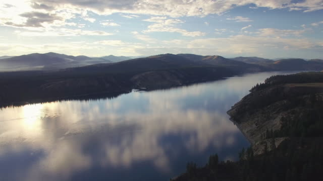 Drone Shot of Cloud Reflection on Massive Lake in Mountain Range video