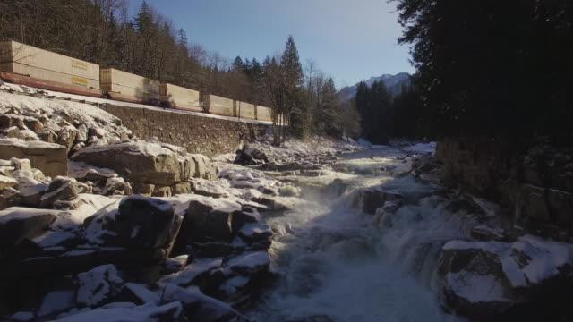 Drone Shot of Eagle Falls, Washington in Winter Season with Train video