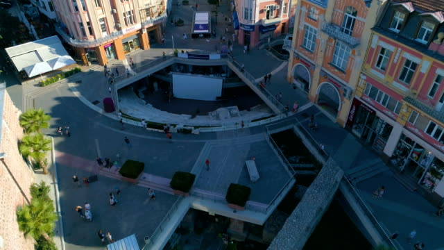 Drone shot of the downtown district of the city of Plovdiv in Bulgaria video