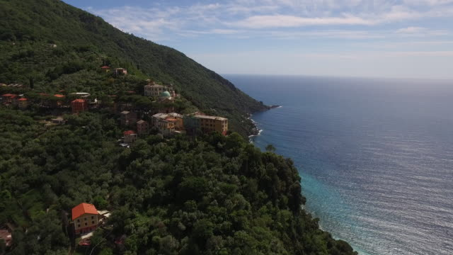 Drone view of Camogli in Italy video
