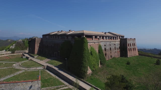 Drone view of fort Begato, Genoa, Italy video