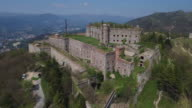 Drone view of fort Sperone, Genoa, Italy video
