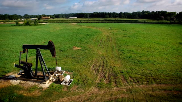 Drone view of pump jack. video