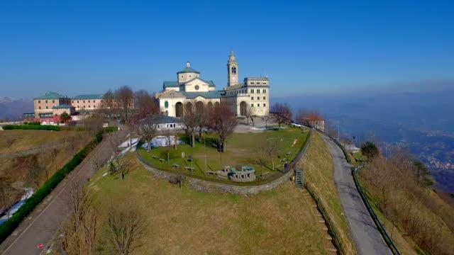"""Drone view of the Christian sanctuary """"Madonna della Guardia"""", Italy video"""