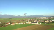 AERIAL: Drone with camera flying above the fields video