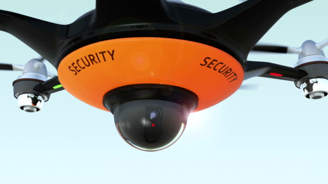 Drone with surveillance camera. Security system concept. video