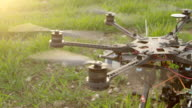 SLOW MOTION: Drone's propellers start spinning video