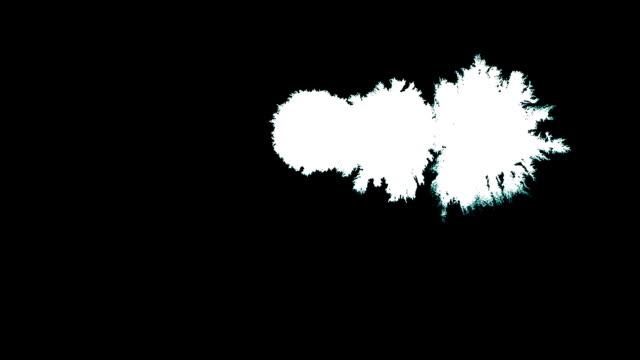 Drop of ink. Invert ink splatter on black background. Good to use as mask in blending modes. White splash expanding on backdrop. Horizontal HD ink drips and splatter video video