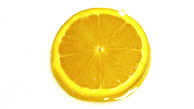 Drop of Water falling on Orange's Slice, citrus sinensis, against White Background, Slow Motion 4K video