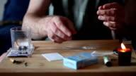 Drug Addict Cutting Cocaine Lines video