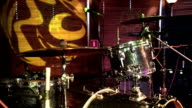 Drum set, microphones and cymbals nobody video