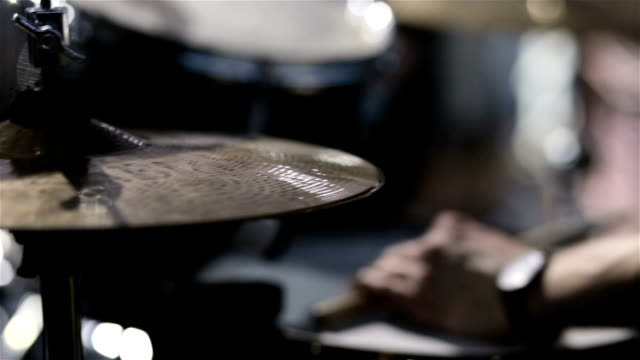 Drummer playing on drum set. close up. Drummer on stage video