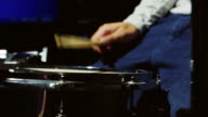 Drummer playing on drum set. close up video