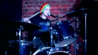 Drummer playing on drums live video