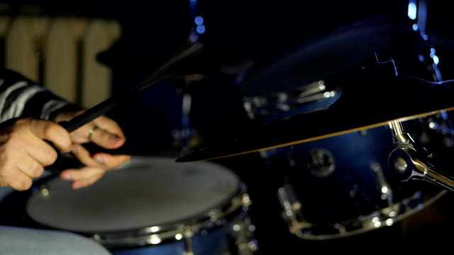 Drumming On Snare With Brushes Close Up Slowmotion. footage of two drum sticks hitting a snare drum video