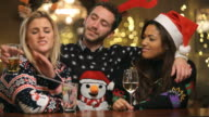 Drunk Man Harassing Women At Christmas Party In Bar video