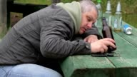 Drunk men sleeping on table with bottles of alcohol video