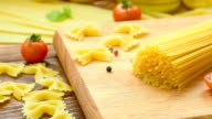 Dry pasta with cherry tomatoes and basil video