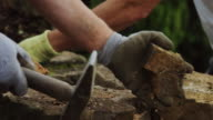 Dry Stone Wall Builder Using Hammer video
