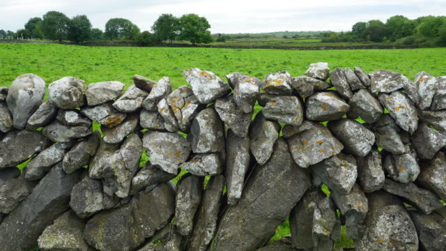 Dry Stone Wall ln Burren Landscape In Ireland video