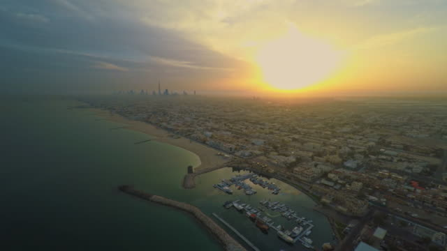 AERIAL Dubai at sunset video
