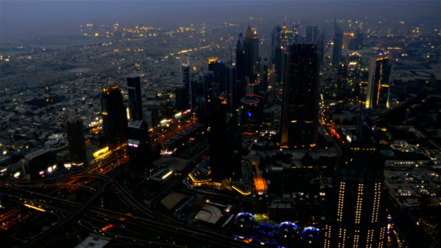 Dubai Business City Downtown and Sheikh Zayed Road at dusk. United arab emirates video