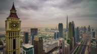 dubai city downtown roof top main road panorama 4k time lapse united arab emirates video