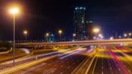 dubai city night illumination traffic road junction 4k time lapse united arab emirates video